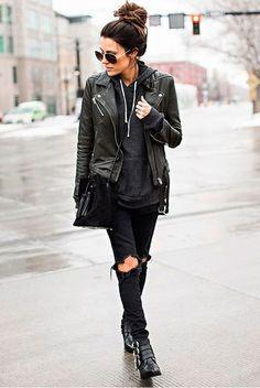 Jaqueta de couro preta / Estilo Tomboy / Blog Bugre Moda / Imagem: Reprodução