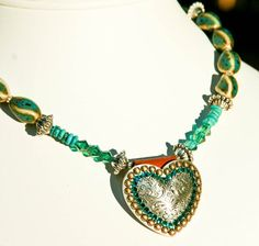 Turquoise Concho Necklace With a Rodeo Cowgirl by LostCoastArts, $80.00