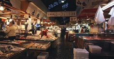 """visit Tsukiji's outer market, which is located just adjacent to the inner market and caters to the public. The outer market consists of a few blocks of small retail shops and restaurants crowded along narrow lanes"""