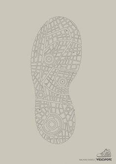 Westport Walking Shoes by Publicis India.{lends itself to map design} Shoe Advertising, Creative Advertising, Advertising Design, Advertising Campaign, Ads Creative, Sports Graphic Design, Graphic Design Typography, Graphic Design Illustration, Map Design