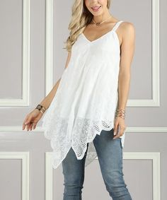 cf424145b4cc4 Loving this White Embroidered-Trim Handkerchief Tank - Women  amp  Plus on   zulily