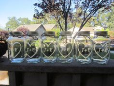 THIS is too cute!!   Etched Mason Jars  6 Wedding Mason Jar Center Pieces by lcatlla, $36.00