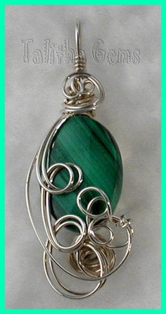 Malachite wrapped in sterling silver wire