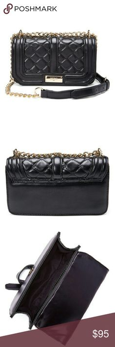 """BCBG Paris Black Quilted Bag NWT, absolutely gorgeous BCBG Paris handbag, black with a quilted-style exterior and gold tone accents. Long strap is gold tone chain and black, as seen in picture #1. Man-made exterior but honestly it looks and feels like leather. Beautifully made and very expensive looking. Dimensions 8.5"""" W x 5.0"""" H x 2.5"""" D, 25"""" max strap drop. Magnetic closure and one inside slip pocket. I will post a picture of the actual bag soon. BCBG Paris Bags Shoulder Bags"""