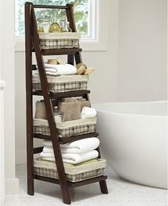 Benchwright Bath Ladder Storage, Rustic Mahogany stain - traditional - bookcases cabinets and computer armoires - Pottery Barn