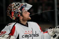 APRIL 28: Braden Holtby #70 of the Washington Capitals reacts in the second period against the New York Rangers in Game One of the Eastern Conference Semifinals during the 2012 NHL Stanley Cup Playoffs at Madison Square Garden on April 28, 2012 in New York City. (Photo by Bruce Bennett/Getty Images)