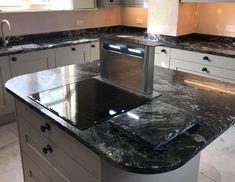 Indian Black granite from the Sensa range. Island featuring hob and pop-up extractor. Dark Granite Countertops, Black Granite, Granite Kitchen, Black Marble, Kitchen Worktop, Kitchen Cabinets, Kitchen Appliances, Kitchen Designs, Kitchen Ideas