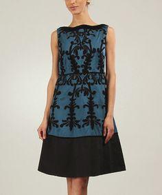 Look what I found on #zulily! Blue & Black Flora Sleeveless A-Line Dress by Niza #zulilyfinds