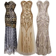 1920's Flapper Dress Vintage Great Gatsby Charleston Sequin Party Evening Gown