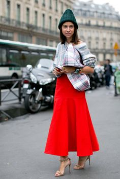 Natasha Goldenberg proved any time of year is the right time to work red and green — and a little Céline plaid.  #pfw #streetstyle #ss14