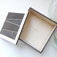 The Harbinger Co. — Square Herringbone Wood Box — Jewelry box