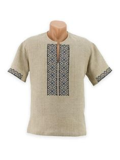 Men's summer embroidery on grey linen with Pre-Carpathian pattern African Dresses Men, African Shirts, African Wear, African Fashion, Tunics For Sale, Dad Outfit, Men Design, Kurta Designs, Mens Fashion Suits