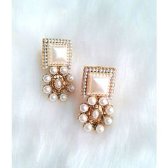 SQUARE SHAPE PEARL STONES CUTE STUDS EARRING PAIR