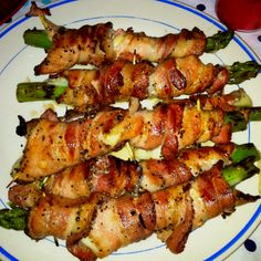 Asparagus wrapped with fresh mozzarella and bacon...if this isn't a reason to grow asparagus, I don't know what is!