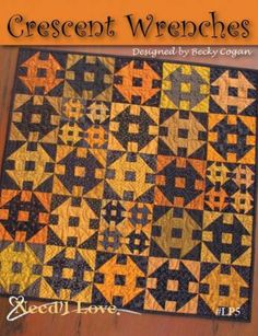 Sew Quilt Crescent Wrenches Pattern by Becky Cogan for Need'l Love. - x Crescent Wrenches Pattern --- Quilt designed by Becky Cogan. The quilt features Renée Nanneman's Harvest Moon and a few Haunting cheddar Halloween Quilt Patterns, Halloween Quilts, Halloween Applique, Quilt Kits, Quilt Blocks, Churn Dash Quilt, Fall Quilts, Love Sewing, Learn Sewing