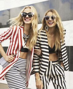 """Jessica Hart and Anne Vyalitsyna in """"Street Chic"""" by Tommy Ton for US Harper's Bazaar, March 2013 https://www.facebook.com/Spendibenemilano"""