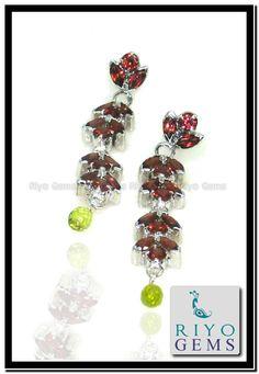 Multi Gemstone 925 Sterling Silver Earring by Riyo Gems www.riyogems.com