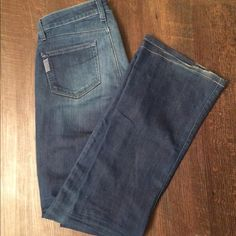 Paige denim size 27 bootcut Great condition has small imperfection on one back pocket (picture shown) and the bottom legs are a tad bit frayed. Has some stretch but mainly a classic denim feel. Paige Jeans Jeans Boot Cut