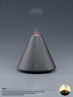 A volcano shaped humidifier that emits a doughnut-shaped vapor; just like a volcano. #humidifier #volcano #YankoDesign