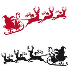 Santa with sleigh and reindeer. Santa with his sleigh and reindeer, vector christmas background. Printable Christmas Cards, Christmas Svg, Christmas Ornaments, Christmas Items, Music Tree, Reindeer Silhouette, Reindeer And Sleigh, Christmas Background, Kirigami