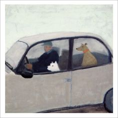 Dogs in cars :) Emma McClure: Going Home Illustrations, Book Illustration, Naive Art, Dog Art, Figurative Art, Art Paintings, Art History, Painting & Drawing, In This World