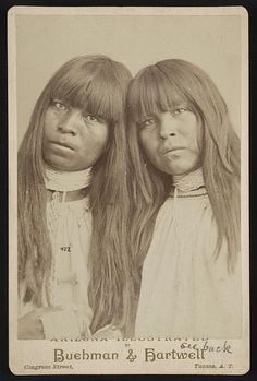 1889 Photograph shows half-length portrait of two Pima Indians, facing front, wearing bead necklaces.