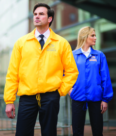 Ready, set, snap - no coach should be without this jacket. Repels light rain and let's the team know who's in charge. Easy to embroider.