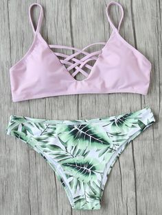 SheIn offers Pink Leaf Print Criss Cross Mix & Match Bikini Set & more to fit your fashionable needs. Swimsuit Tops, Bikini Swimwear, Bikini Set, Bikini Mayo, Pink Bikini, Bandeau Bikini, Bikini Girls, Summer Bathing Suits, Girls Bathing Suits