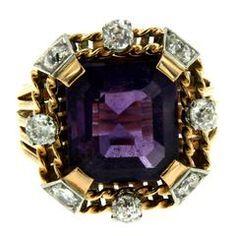 Retro Amethyst Diamond Gold Ring