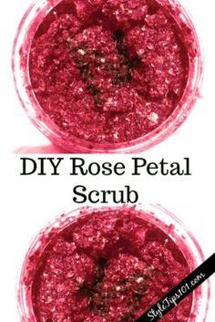 DIY rose petal scrub #rosescrub #diybodyscrub #diybeauty