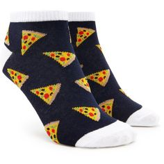 Forever21 Pizza Graphic Ankle Socks ($1.90) ❤ liked on Polyvore featuring intimates, hosiery, socks, graphic socks, tennis socks, forever 21 socks, forever 21 and short socks