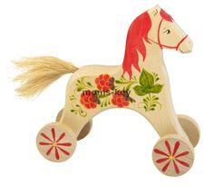 Каталка деревянная Конь Малинка www.moms-key.ru