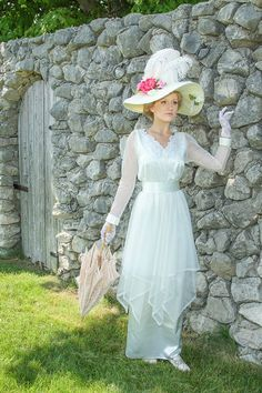 How perfect is our Jewell Edwardian Dress? Suitable for a vintage-themed wedding, Somewhere in Time weekend, Downton Abbey party, or any romantic occasion! #SomewhereInTime #DowntonAbbey #Titanic #EdwardianEra #EdwardianWedding #WeddingDress #EdwardianElegance #EdwardianRomance #RomanticDress #HistoricalClothing #victoriandress #RecollectionsClothing #MadeInUSA #HistoricalRomance