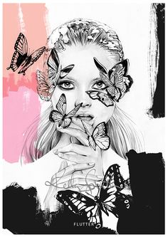 Kelly Smith illustration: Flutter - LIMITED EDITION PRINT, Flutter 2014, exploring texture and line in hand-detailed pencil, while digital elements and ink add subtle hints of contrast, Tasmania, Australia.