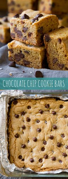 No mixer required and there's no waiting for cookie dough to chill with these soft & chewy chocolate chip cookie bars!