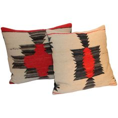 Pair of Amazing Early Navajo Geometric Weaving Pillows | From a unique collection of antique and modern native american objects at https://www.1stdibs.com/furniture/folk-art/native-american-objects/