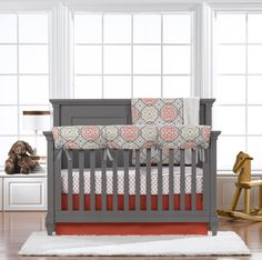 Coral Crib Bedding by Liz and Roo Fine Baby Bedding | Girl Crib Bedding | Boy Crib Bedding |
