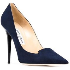Jimmy Choo Ari Pumps ($380) ❤ liked on Polyvore featuring shoes, pumps, high heels stilettos, stiletto pumps, navy shoes, navy suede pumps and navy blue pumps