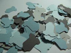 Onesie Die Cut Confetti  ~ Blue & Grey Onesie Confetti ~ 300 Pieces, Party Decorations, Shower Decor, Onesie Punch Outs, Onesie Cut Outs