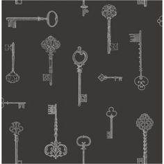 Option 1 for Bedroom 1: Fine Decor Keys Wallpaper Black / Silver