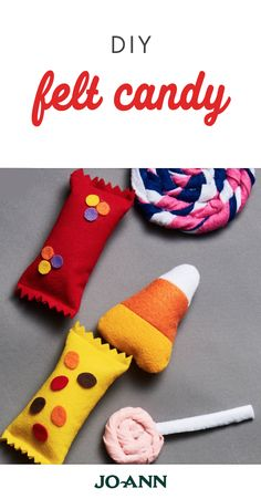 Give your home a sweet splash of festive decor with this project idea for DIY Felt Candy. With instructions for chocolate bars, candy corn, and lollipops, you'll want to sprinkle these homemade decoration all around your home—and we don't blame you! Candy Crafts, Felt Crafts, Felt Patterns, Stuffed Toys Patterns, Candy Theme Birthday Party, Felt Cupcakes, Felt Play Food, Halloween Diy, Halloween Carnival