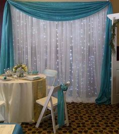 Turquoise backdrop from Always Invited Event Rentals Sweet 16 Centerpieces, Silver Party Decorations, Girl Baby Shower Decorations, Green Decoration, Breakfast At Tiffanys Party Ideas, Ganesh Chaturthi Decoration, Party Kulissen, Turquoise Party, Backyard Birthday