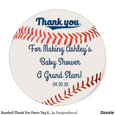 Baseball Thank You Favor Tag Sticker
