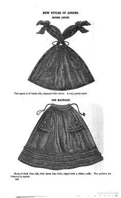 1862 Godey's Magazine - unique apron fastening civil war era fashion