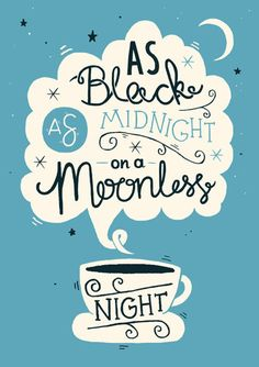 A4 Twin Peaks Art Print - 'As black as midnight on a moonless night' - Typography / Illustration / Hand Lettering