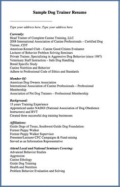 Dog Trainer Resume | Resume CV Cover Letter