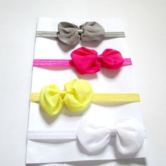 Set of 4 Baby chiffon bow Headband Baby bow by colorsplashh