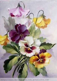 """Rise and Shine"" watercolor by Susan Crouch. Great example of negative painting. China Painting, Tole Painting, Fabric Painting, Art Floral, Watercolor Flowers, Watercolor Paintings, Botanical Prints, Vintage Flowers, Pansies"