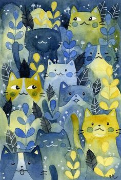 """Kitty Forest"" Poster von Calista Douglas Cats In Art Forest Poster, Animals Watercolor, Cat Diseases, International Cat Day, Canvas Prints, Art Prints, Cat Drawing, Cat Art, Cats And Kittens"