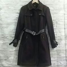 Coat Brown knee length coat 60% Wool 30%Polyester 10% Rayon lining with faux leather belt. Dry clean only.. Miss Sixty Jackets & Coats Trench Coats